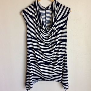 Jennie and Mariis B & W Striped Drape Front Top A1